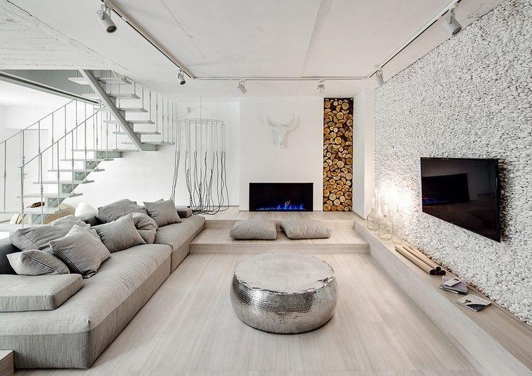 Decoraci n interiores minimalistas con paredes de piedra - Piedra de interior ...