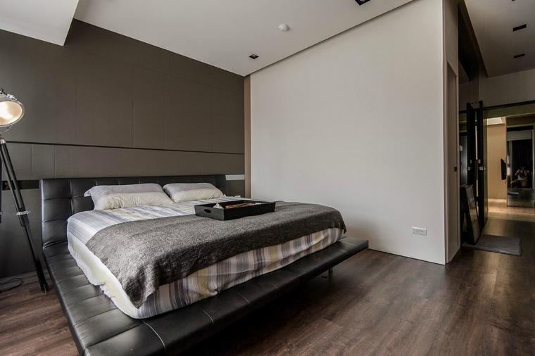 decoracion interiores minimalistas cama cuero negro ideas