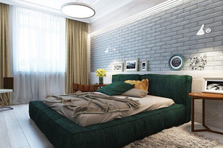 decoracion interiores minimalistas cama verde ideas