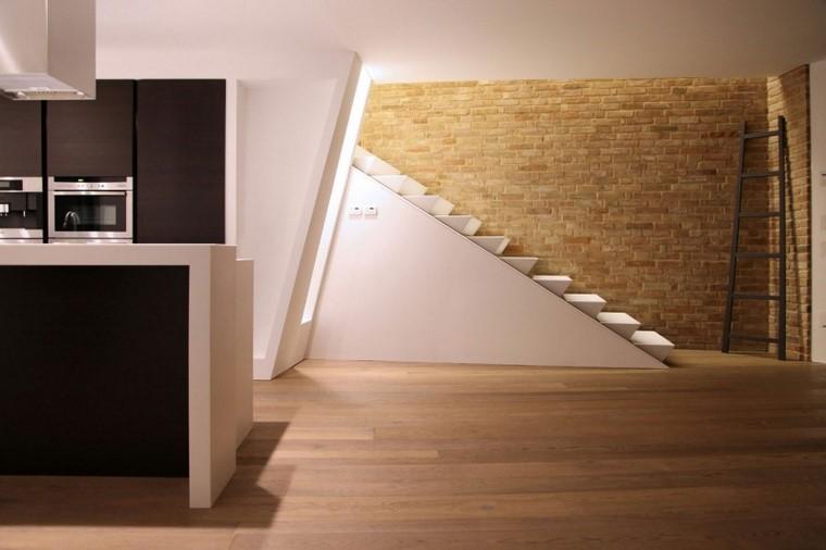 decoracion interiores escalera pared piedra ideas