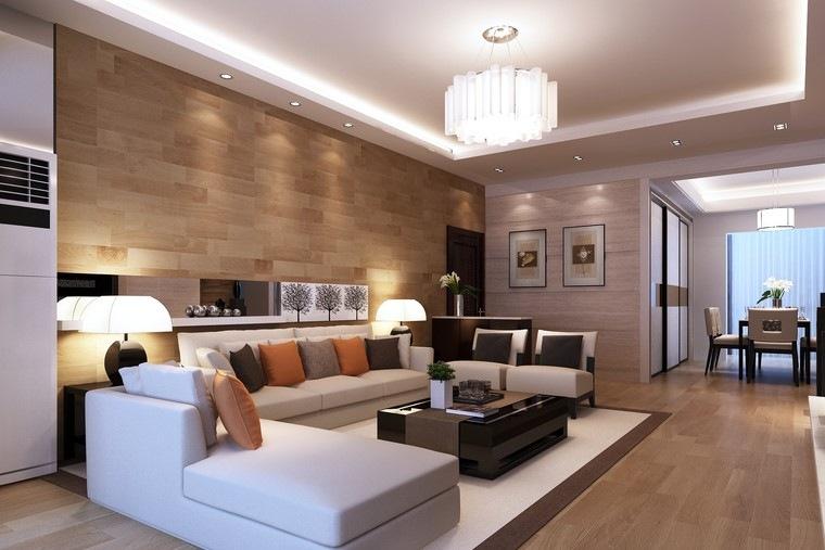 Decoracin interiores minimalistas con paredes de piedra