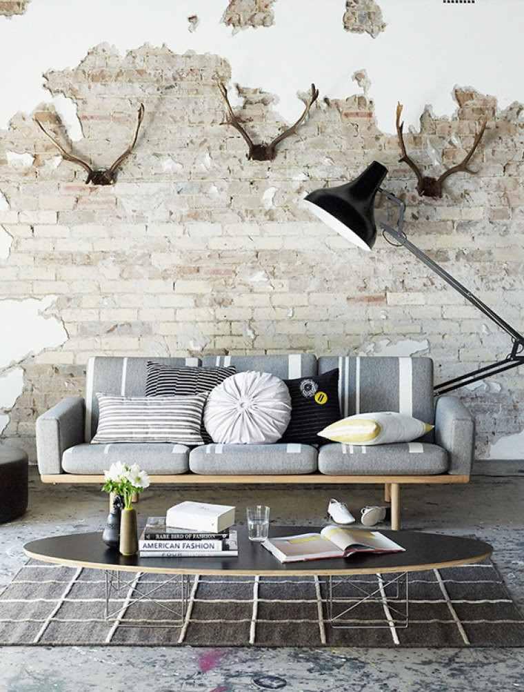 decoracion interiores minimalistas ladrillo muebles gris ideas