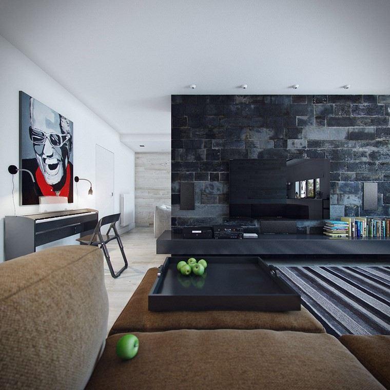 descoracion interiores minimalistas pared negra ideas