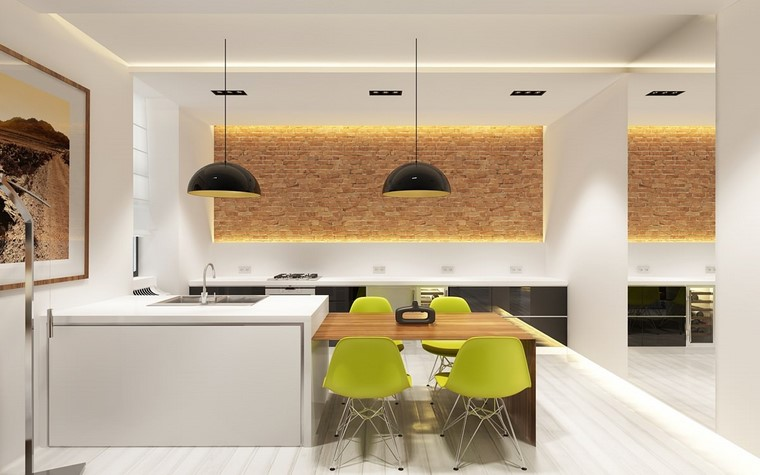 Decoración interiores minimalistas con paredes de piedra