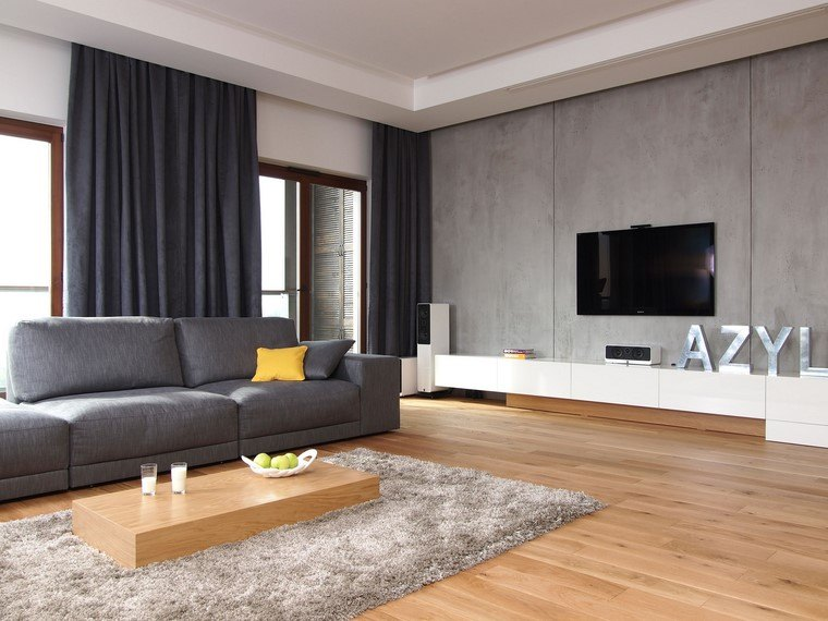 descoracion interiores minimalistas salon gris ideas