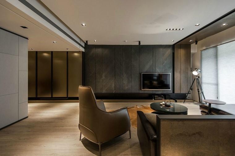 descoracion interiores minimalistas sillon cuero ideas