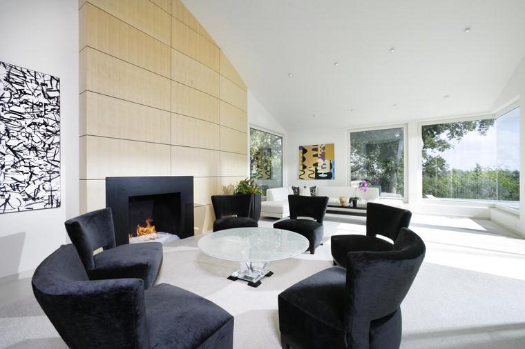 descoracion interiores minimalistas sillones negros salon ideas