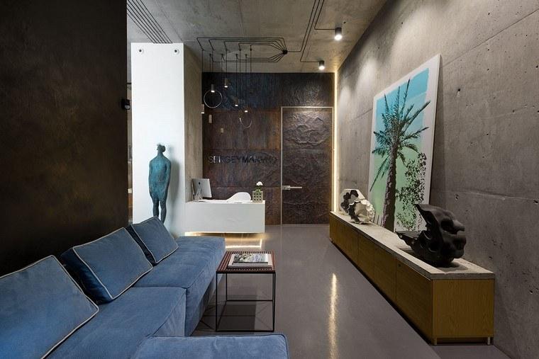 descoracion interiores minimalistas sofa azul ideas