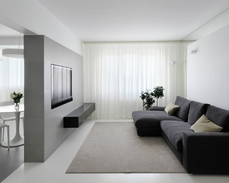 descoracion interiores minimalistas sofa negra ideas