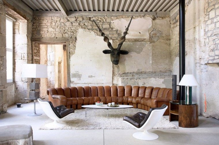 descoracion interiores minimalistas sofa ovalada ideas
