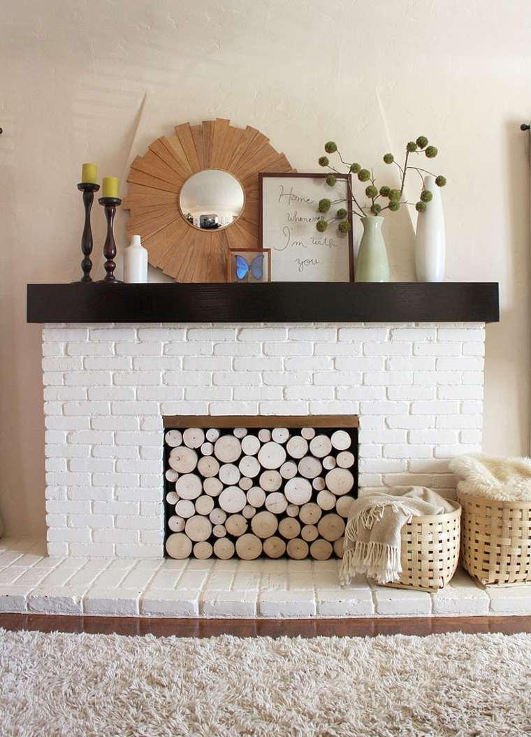 diseño decoración chimenea leña