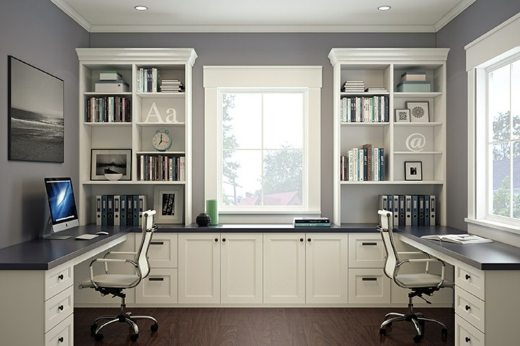 Dise o interiores de despachos blancos amplios e iluminados for Despacho diseno interiores