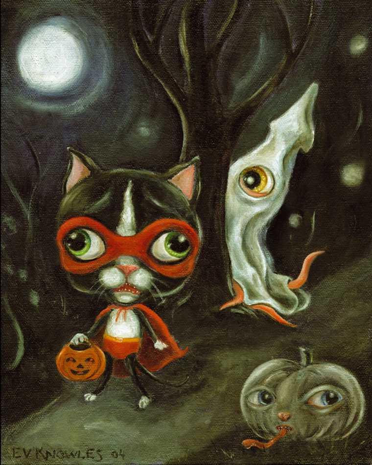 diseno gatos disfrazados halloween