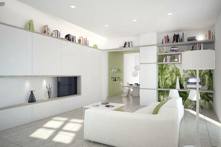 diseno minimalista salon verde blanco ideas