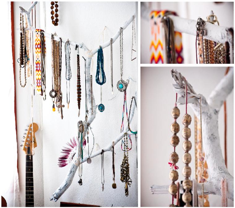 Percheros decorativos de ramas naturales 24 ideas - Como hacer un joyero de madera ...
