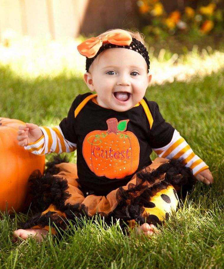 disfraces bebes halloween nina negro naranja ideas