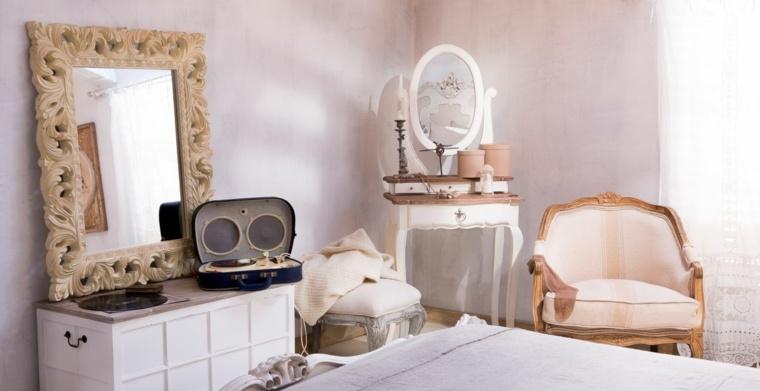 dormitorio diseno chabby chic paredes rosa claro ideas