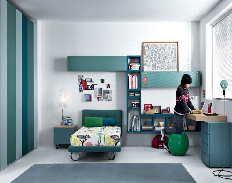 dormitorio infantil tonos azules