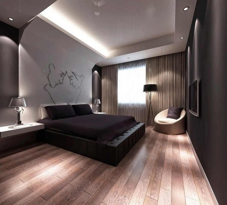 dormitorio principal minimalista accento pared ideas