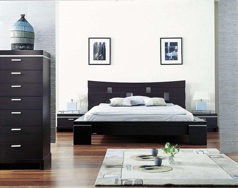 dormitorio principal minimalista cama madera negra ideas