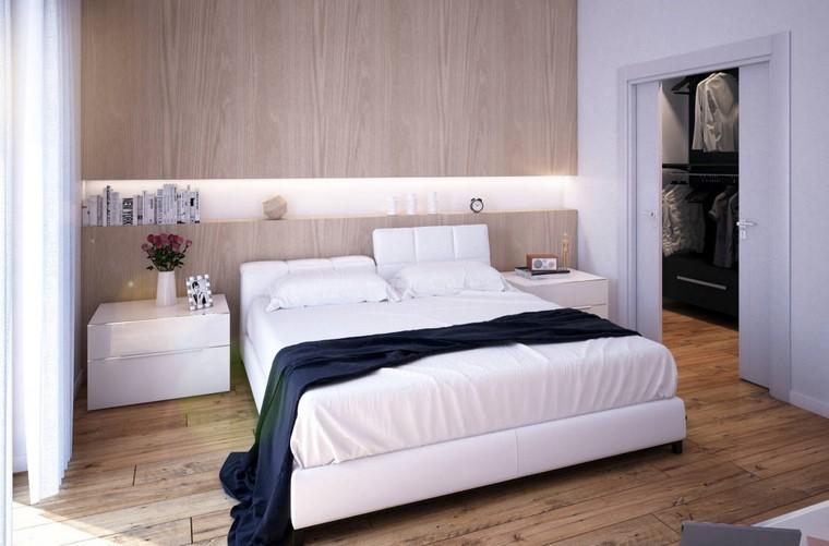 dormitorio principal minimalista diseno cama blanca ideas