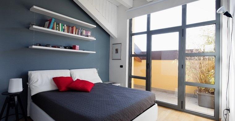 dormitorio principal minimalista diseno estantes pared ideas