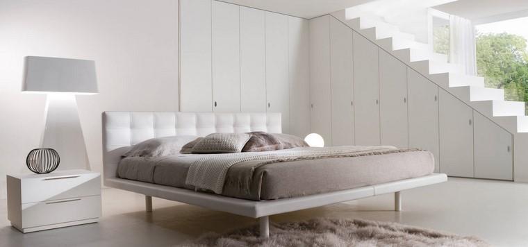 dormitorio principal minimalista diseno muebles blancos ideas