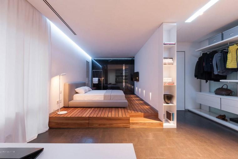 dormitorio principal minimalista diseno suelo madera ideas