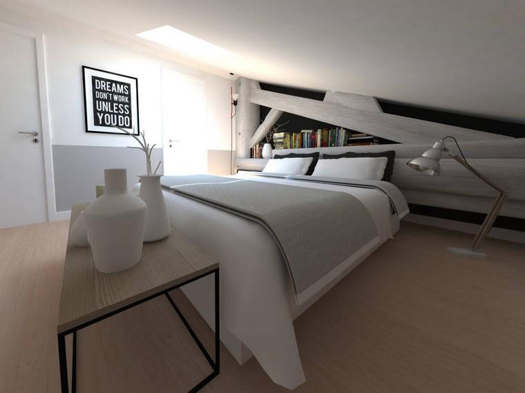 dormitorio principal minimalista diseno techo bajo ideas