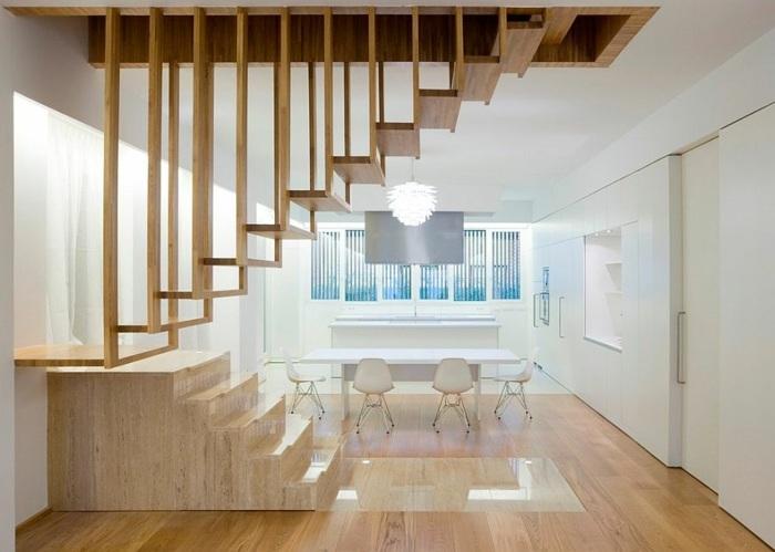 escaleras de madera suspendida ideas puertas