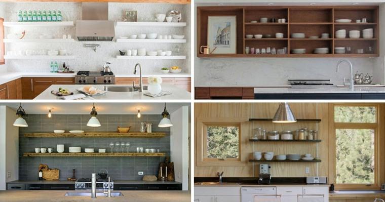 Estanterias cocina estantes abiertos de estilo moderno for Estantes para cocina pequena