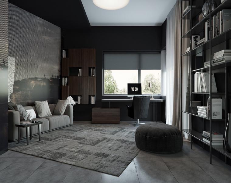 estudio habitación color gris oscuro