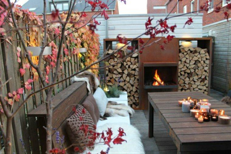 estupenda terraza moderna chimenea