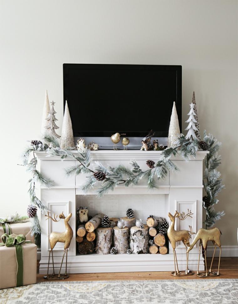estupenda decoración chimenea navidad