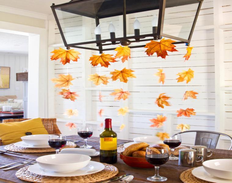 estupenda decoracion hojas secas mesa