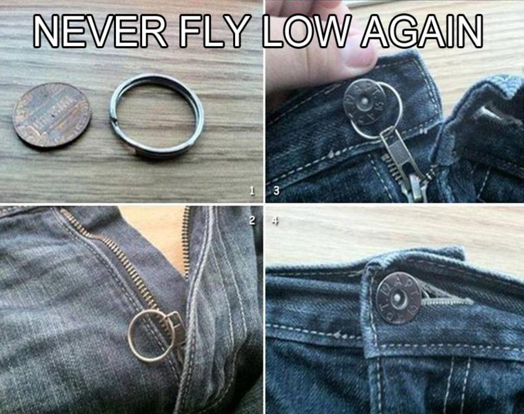 estupenda idea cremallera pantalón rota