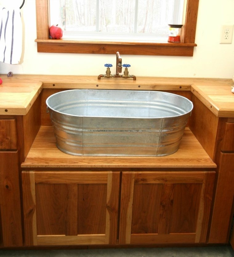 Lavabos rusticos paz y relax en el cuarto de bao