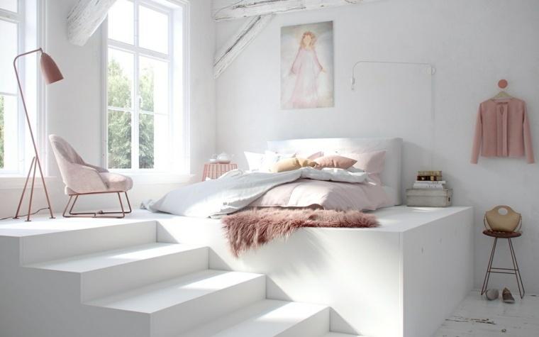 fotos de dormitorios blanca rosa vigas