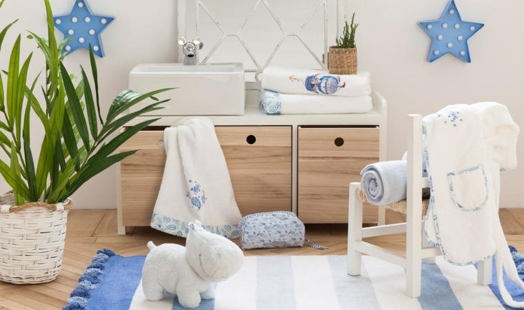 habitaciones ninos azul blanco ideas