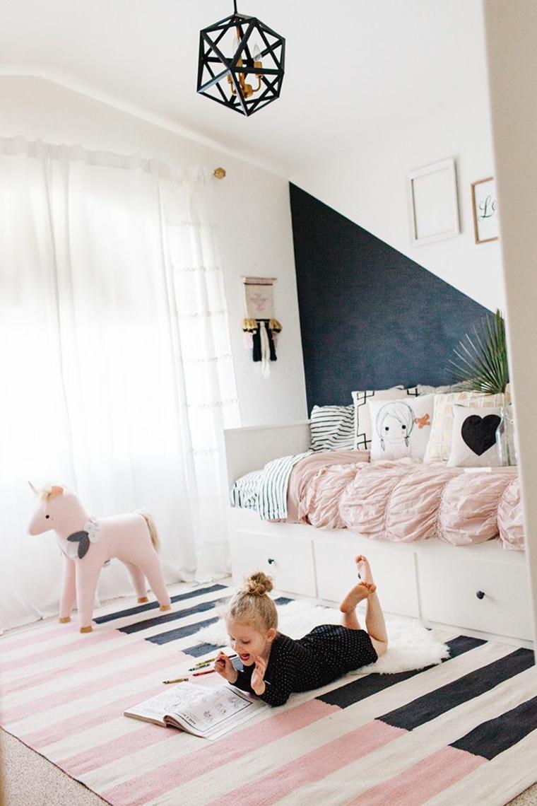 habitaciones ninos espacios rosa negro ideas