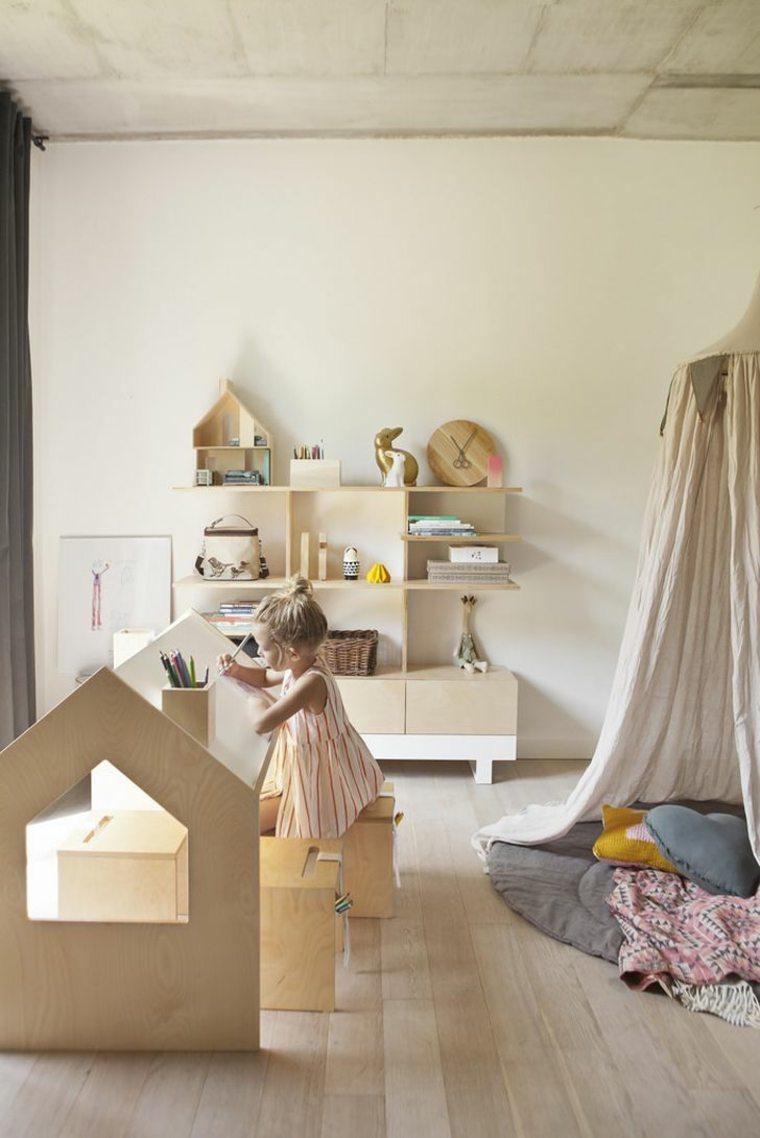 habitaciones ninos muebles madera natural ideas
