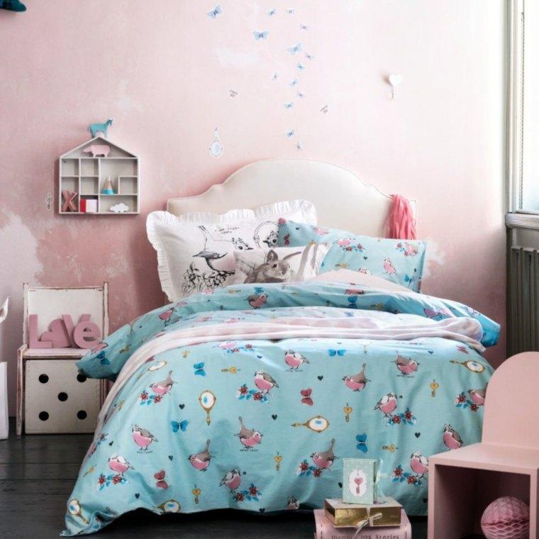 habitaciones ninos pared rosa ideas