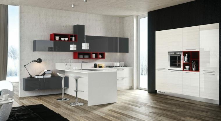 ideas cocinas gris amplias efectos
