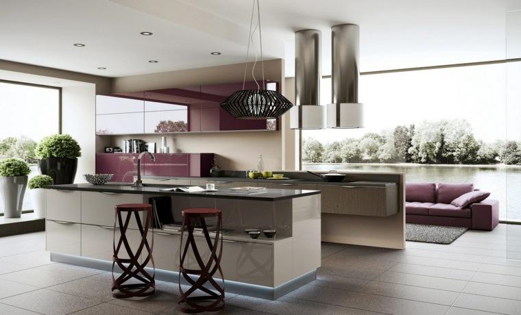 ideas cocinas purpura estilos sillones