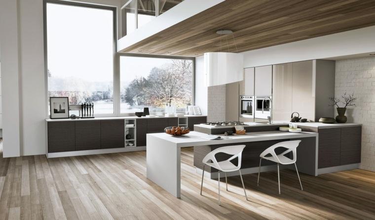 ideas cocinas unidades madera combinaciones