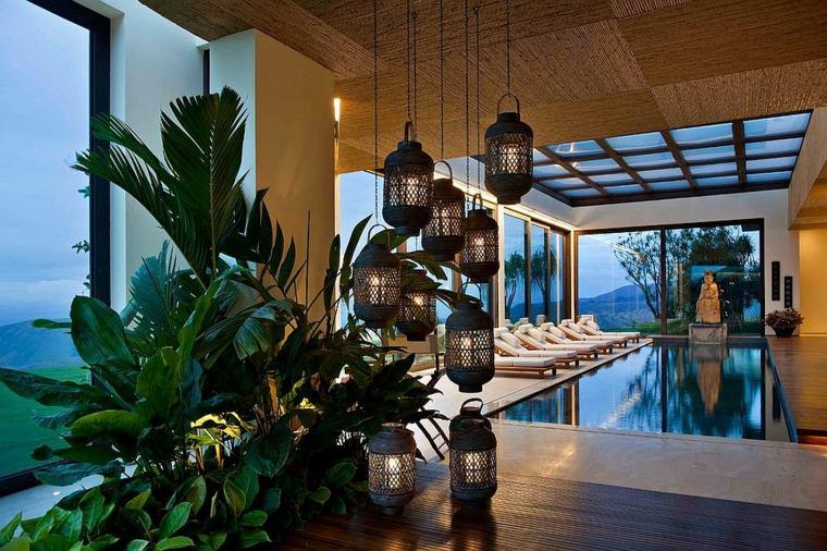 iluminacion exterior ideas plantas colgantes