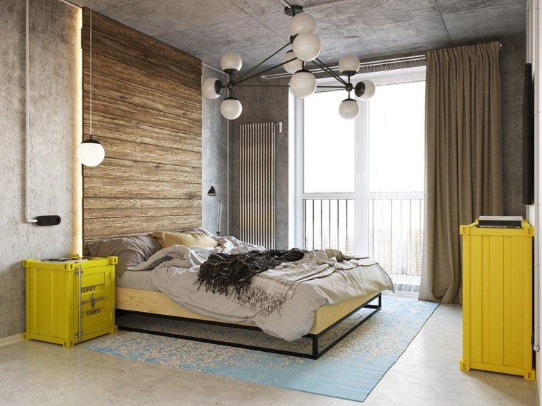 industrial colorida habitaciones tema amarillo