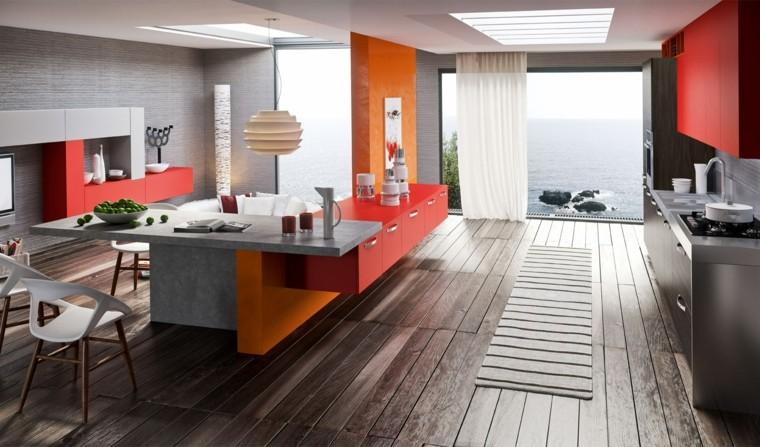 isla separador integrada muebles naranja