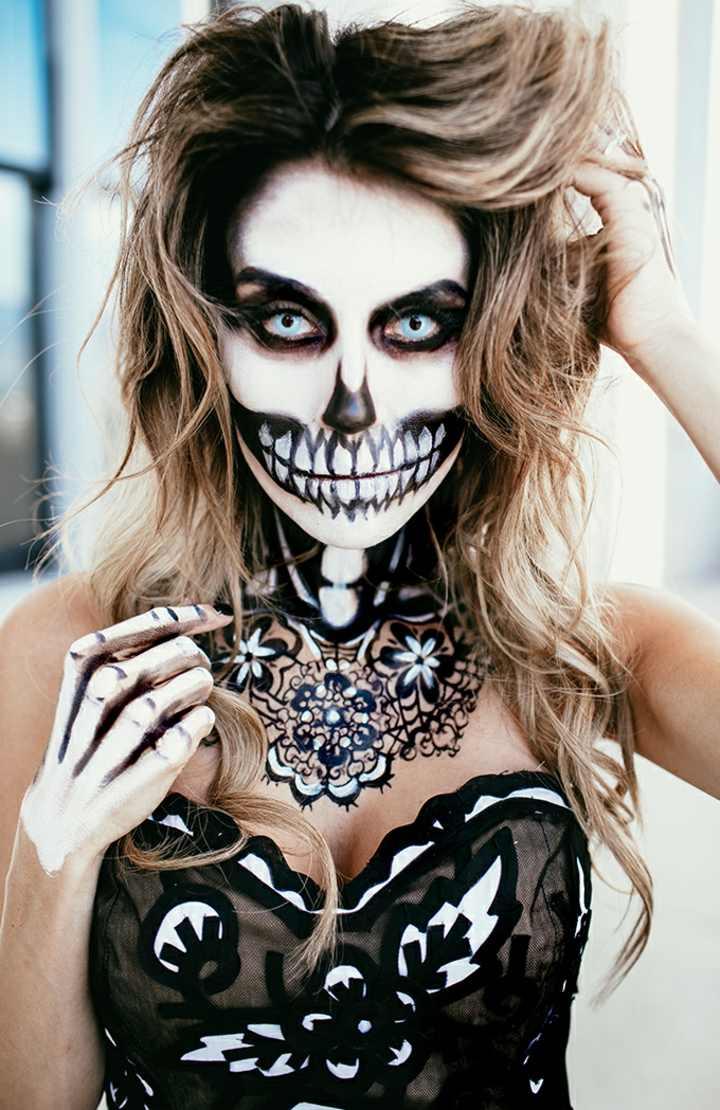 los esqueletos manos maquillaje lentes
