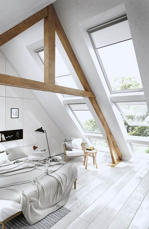 madera blanco atico espacio vigas